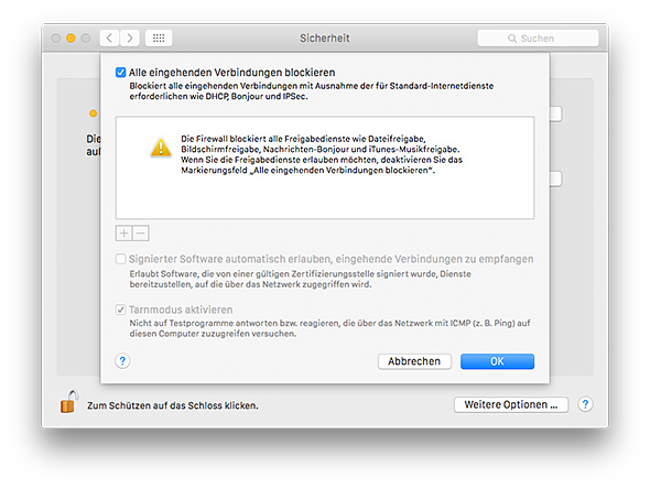 Mac Firewall - Alle Verbindungen blockieren