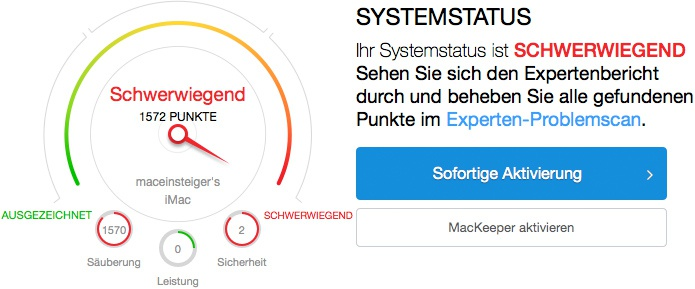 MacKeeper/Advanced Mac Cleaner Systemstatus Schwerwiegend
