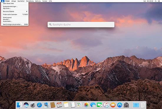macOS Benutzeroberfläche hell - DarkMode deaktiviert