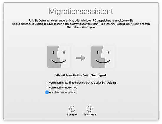 Migrationsassistent - Daten auf einen anderen Mac übertragen