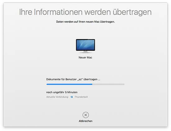 Migrationsassistent - Quell-Mac Daten übertragen