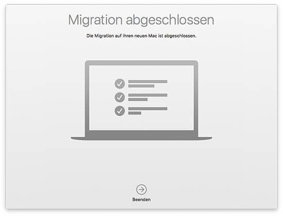 Migrationsassistent - Quell-Mac Migration abgeschlossen