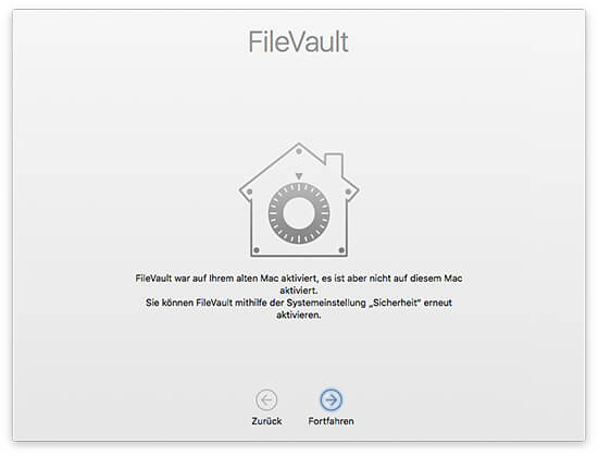 Migrationsassistent - Ziel-Mac FileVault aktivieren