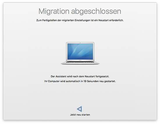 Migrationsassistent - Ziel-Mac Migration abgeschlossen