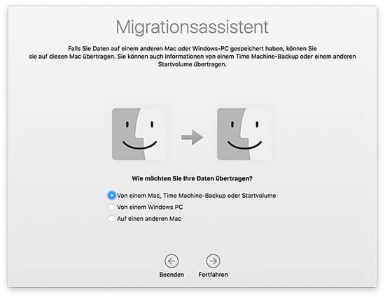 Migrationsassistent - Daten von einem anderen Mac übertragen