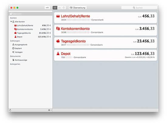 MoneyMoney macOS Banking-App - Kontenübersicht