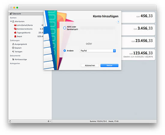 MoneyMoney macOS Banking-App - PayPal