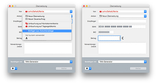 MoneyMoney macOS Banking-App - Überweisung SmartP@ste