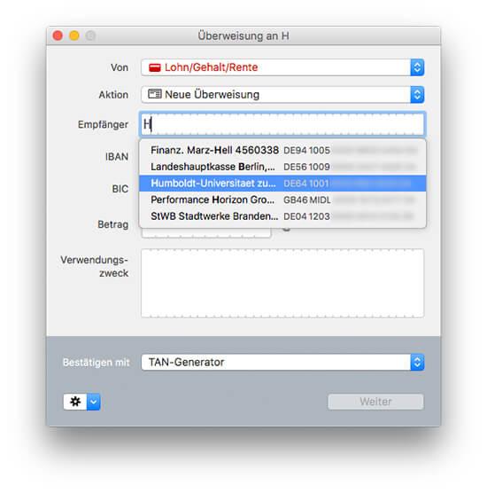 MoneyMoney macOS Banking-App - Überweisung