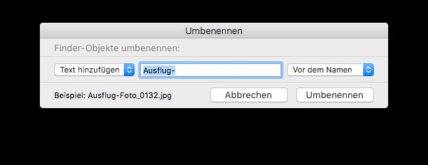 Dateien umbennen - Text hinzufügen