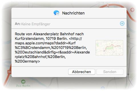 OS X Karten Route per iMessage senden