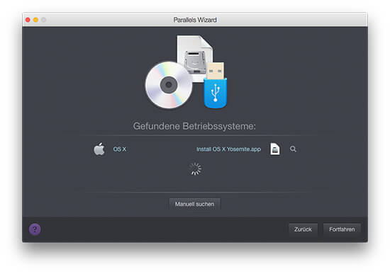 Parallels Desktop - Gefundene Betriebssysteme