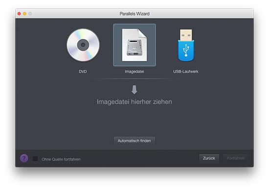 Parallels Desktop für Mac - Manuelle Suche nach Windows-Image