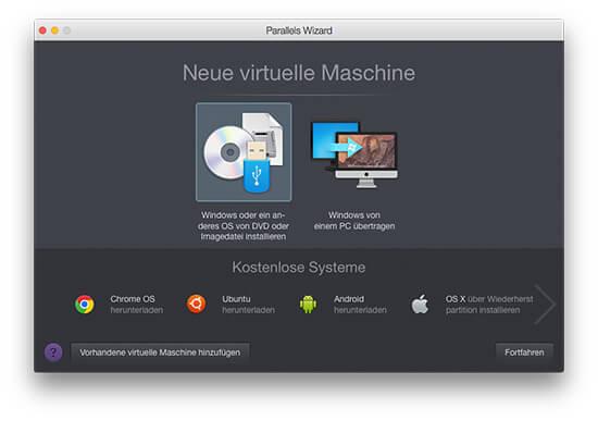 Parallels Desktop - Neue virtuelle Maschine