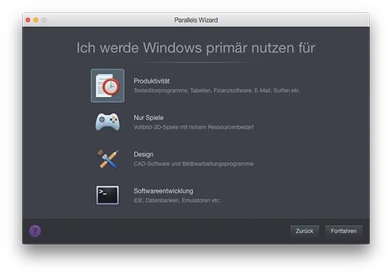 Parallels Desktop - Windows Verwendungszweck