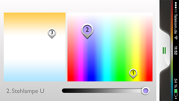 Philips Hue App Farbpalette