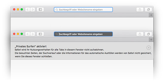 Mac OS Safari - Privates Surfen - Privates Fenster