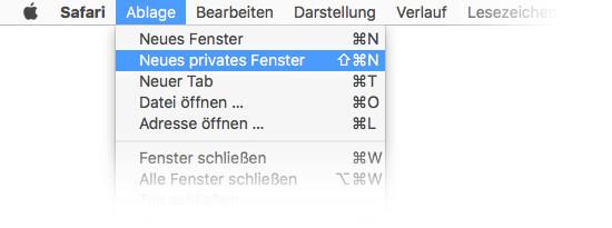 Mac OS Safari - Privates Surfen aktivieren