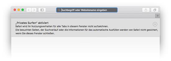 Mac OS Safari - Privates Surfen aktiviert