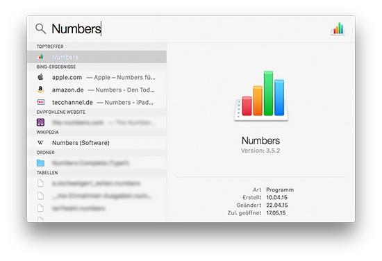 Mac Spotlight Suchergebnisse