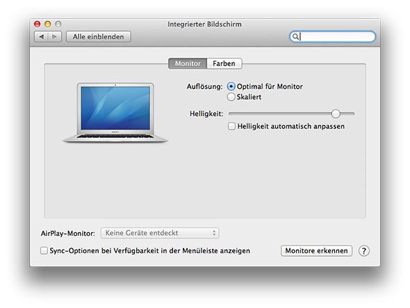 Systemeinstellungen - Monitore erkennen