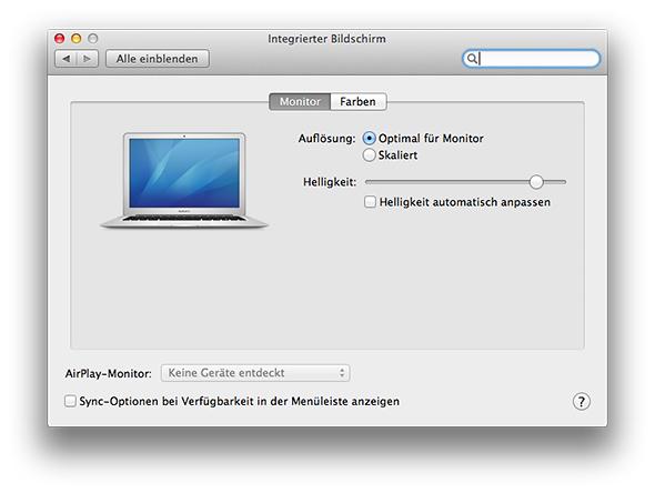 Systemeinstellungen - Monitore