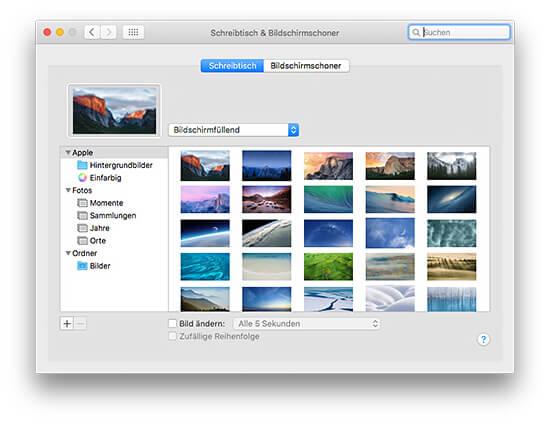 OS X Systemeinstellungen Schreibtischhintergrund festlegen