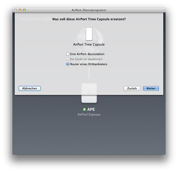 AirPort-Dienstprogramm - Router eines Drittanbieters