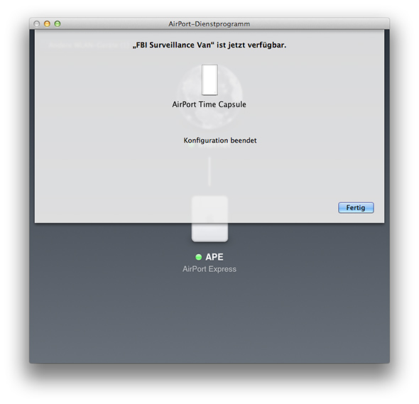 AirPort-Dienstprogramm - Time Capsule verfügbar