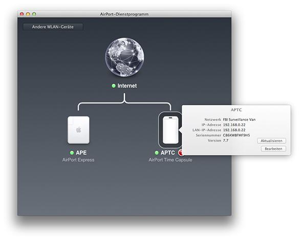 AirPort-Dienstprogramm - Time Capsule Firwareupdate