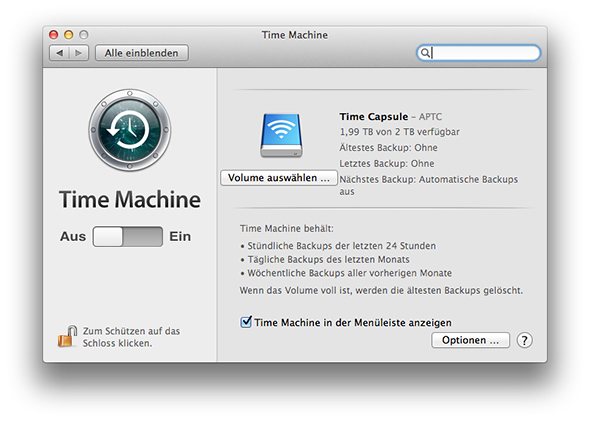 Time Machine - automatisches Backup aus