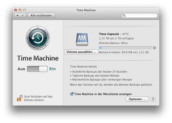 Time Machine - Time Capsule Backup erstellen
