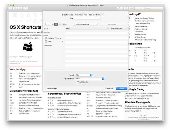 OS X Vorschau - PDF-Dokument exportieren
